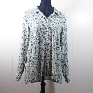 J Jill floral long sleeve buttonup collared shirt